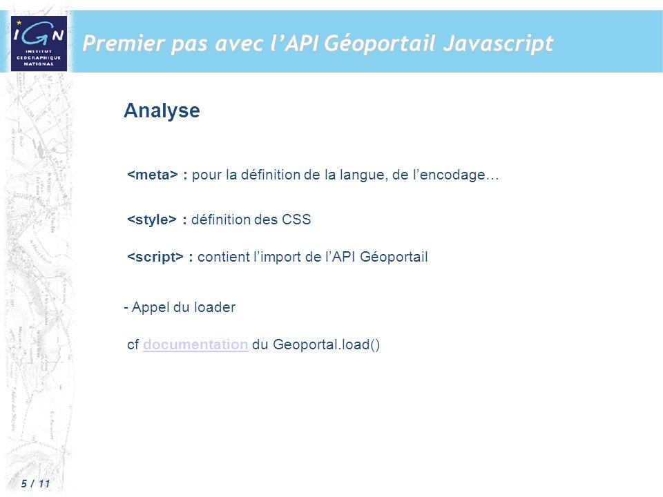 5 / 11 Premier pas avec lAPI Géoportail Javascript Analyse : pour la définition de la langue, de lencodage… : définition des CSS : contient limport de lAPI Géoportail - Appel du loader cf documentation du Geoportal.load()documentation