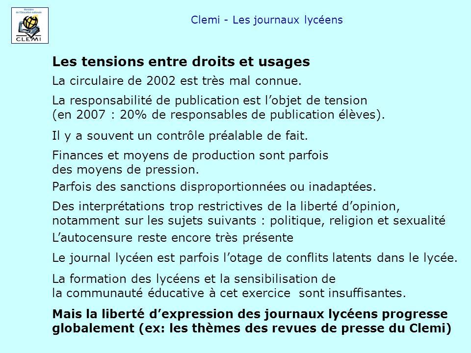 Clemi - Les journaux lycéens Les tensions entre droits et usages La circulaire de 2002 est très mal connue. La responsabilité de publication est lobje