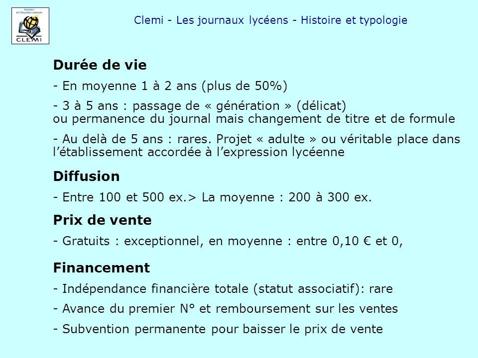 Clemi - Les journaux lycéens - Histoire et typologie Durée de vie - En moyenne 1 à 2 ans (plus de 50%) - 3 à 5 ans : passage de « génération » (délica