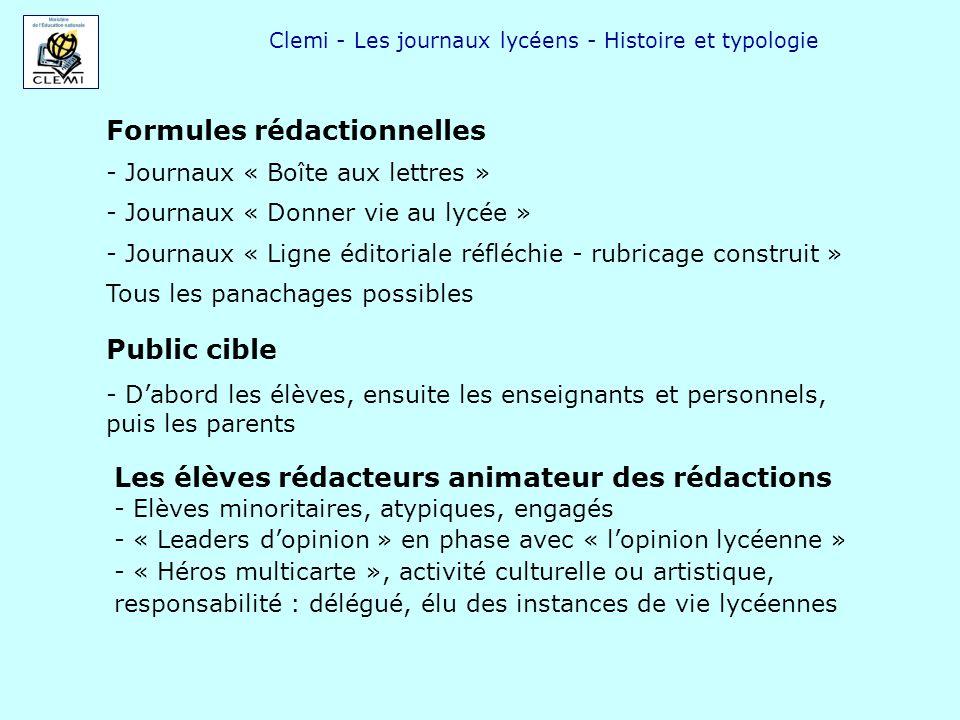 Clemi - Les journaux lycéens - Histoire et typologie Formules rédactionnelles - Journaux « Boîte aux lettres » - Journaux « Donner vie au lycée » - Jo