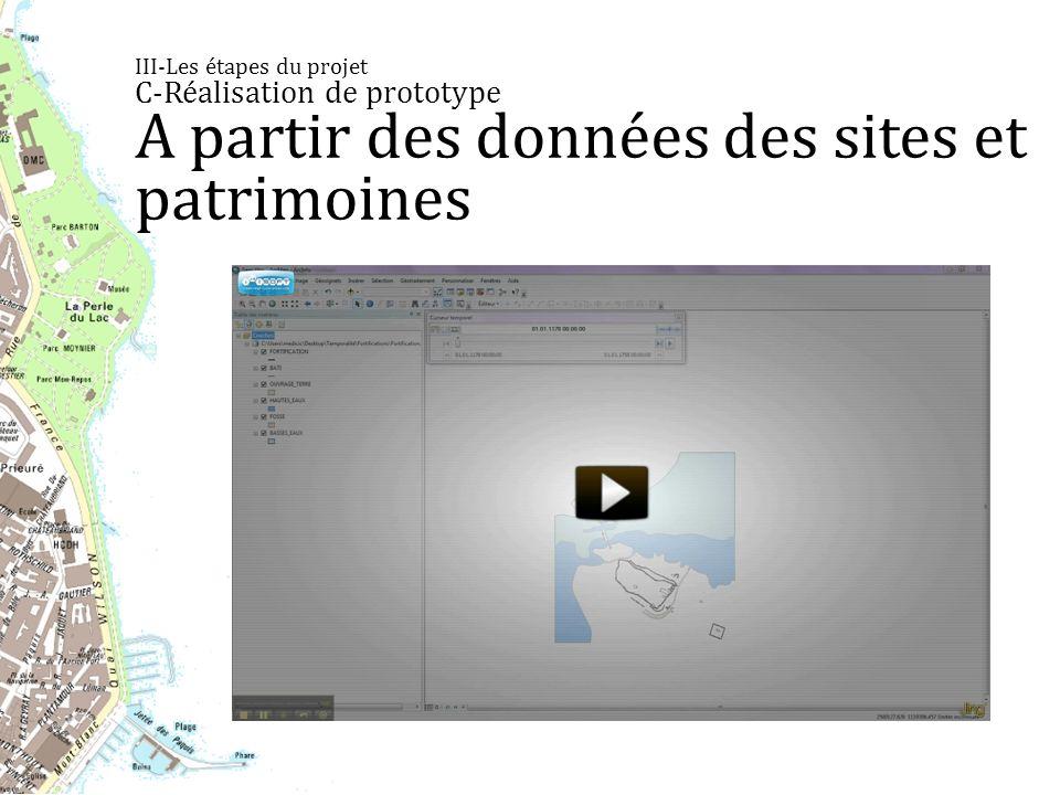 III-Les étapes du projet C-Réalisation de prototype A partir des données des sites et patrimoines