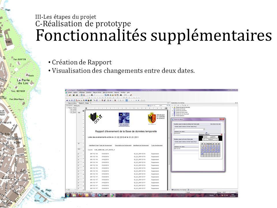 III-Les étapes du projet C-Réalisation de prototype Fonctionnalités supplémentaires Création de Rapport Visualisation des changements entre deux dates.