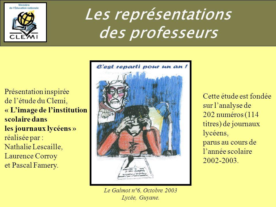 Présentation inspirée de létude du Clemi, « Limage de linstitution scolaire dans les journaux lycéens » réalisée par : Nathalie Lescaille, Laurence Corroy et Pascal Famery.