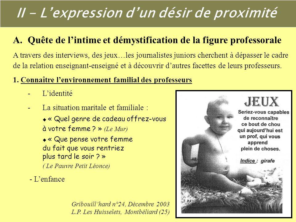II - Lexpression dun désir de proximité A. Quête de lintime et démystification de la figure professorale 1.Connaître lenvironnement familial des profe