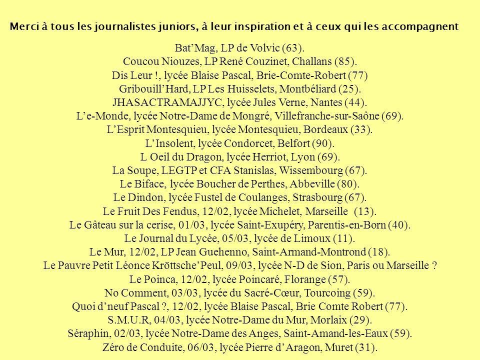Présentation réalisée par Pascal Famery et Aurélie Jigorel, « Expression jeune - Journaux scolaires et lycéens », Clemi national Remerciements à Adeli