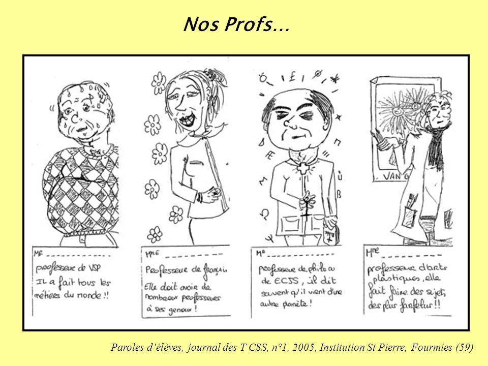 Paroles délèves, journal des T CSS, n°1, 2005, Institution St Pierre, Fourmies (59) Nos Profs…