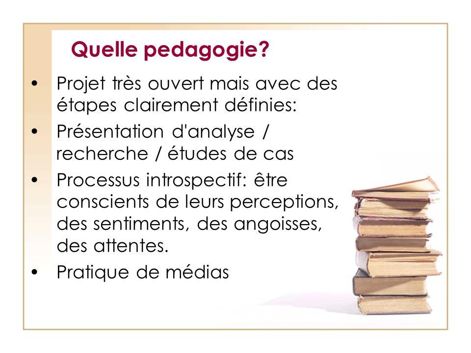 Quelle pedagogie? Projet très ouvert mais avec des étapes clairement définies: Présentation d'analyse / recherche / études de cas Processus introspect