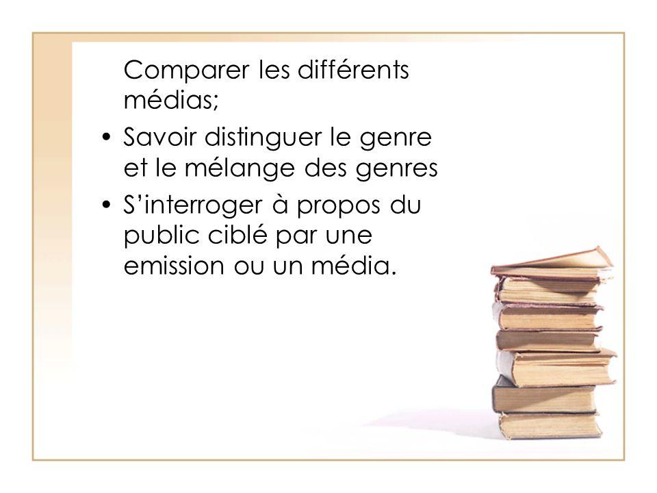 Comparer les différents médias; Savoir distinguer le genre et le mélange des genres Sinterroger à propos du public ciblé par une emission ou un média.