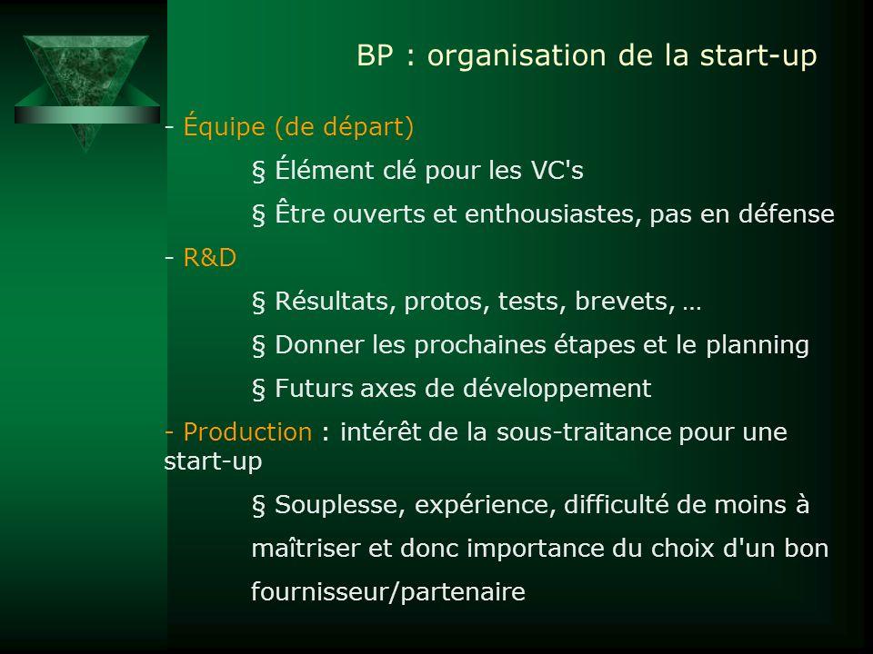 BP : organisation de la start-up - Équipe (de départ) § Élément clé pour les VC's § Être ouverts et enthousiastes, pas en défense - R&D § Résultats, p