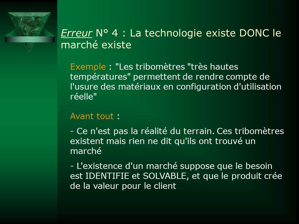 Erreur N° 4 : La technologie existe DONC le marché existe Exemple :