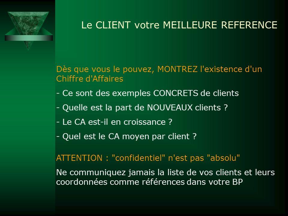 Le CLIENT votre MEILLEURE REFERENCE Dès que vous le pouvez, MONTREZ l'existence d'un Chiffre d'Affaires - Ce sont des exemples CONCRETS de clients - Q