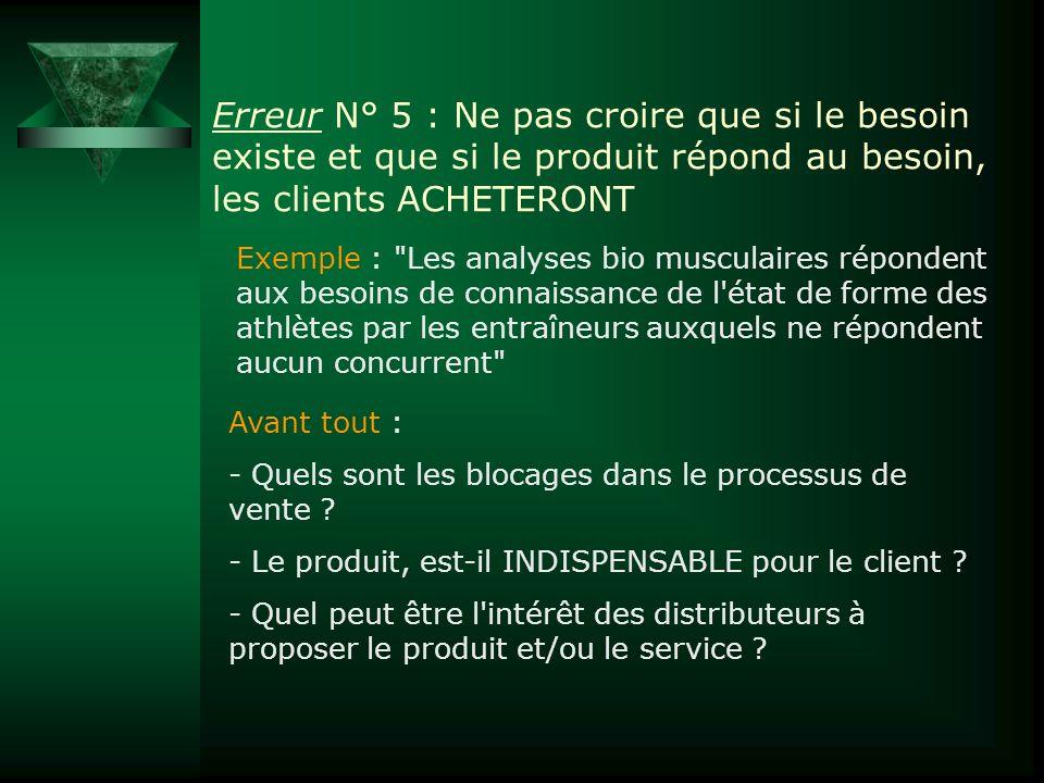 Erreur N° 5 : Ne pas croire que si le besoin existe et que si le produit répond au besoin, les clients ACHETERONT Exemple :