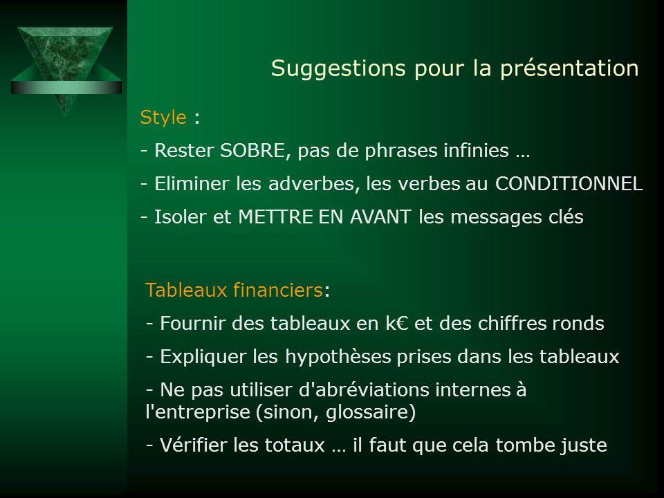 Suggestions pour la présentation Style : - Rester SOBRE, pas de phrases infinies … - Eliminer les adverbes, les verbes au CONDITIONNEL - Isoler et MET