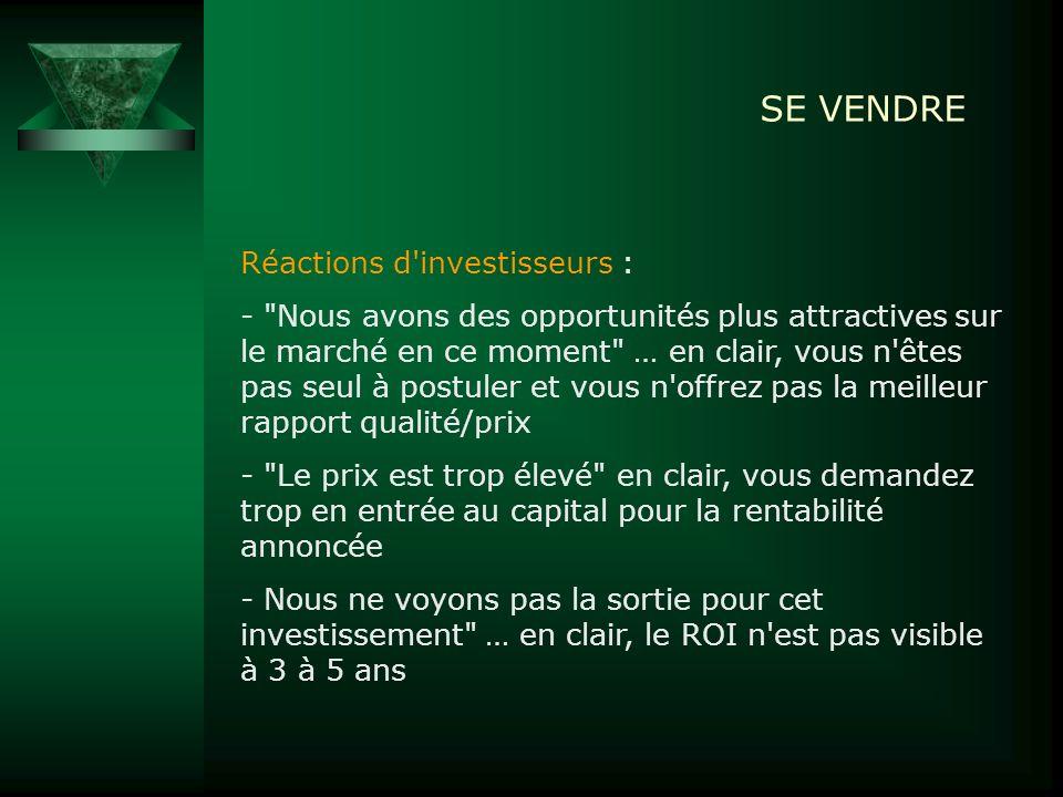 SE VENDRE Réactions d'investisseurs : -