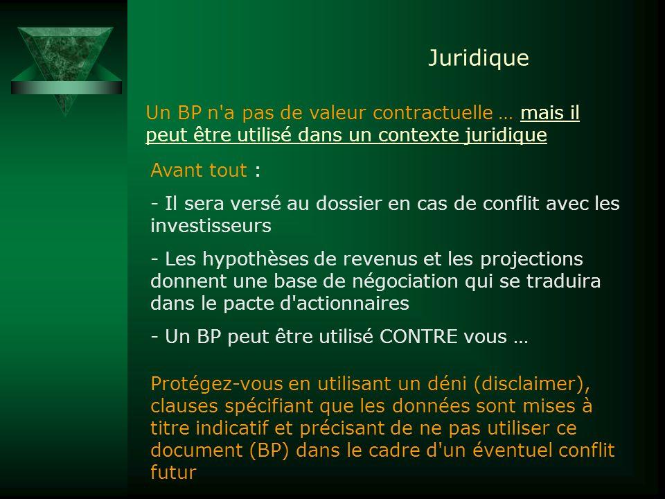 Juridique Un BP n'a pas de valeur contractuelle … mais il peut être utilisé dans un contexte juridique Avant tout : - Il sera versé au dossier en cas