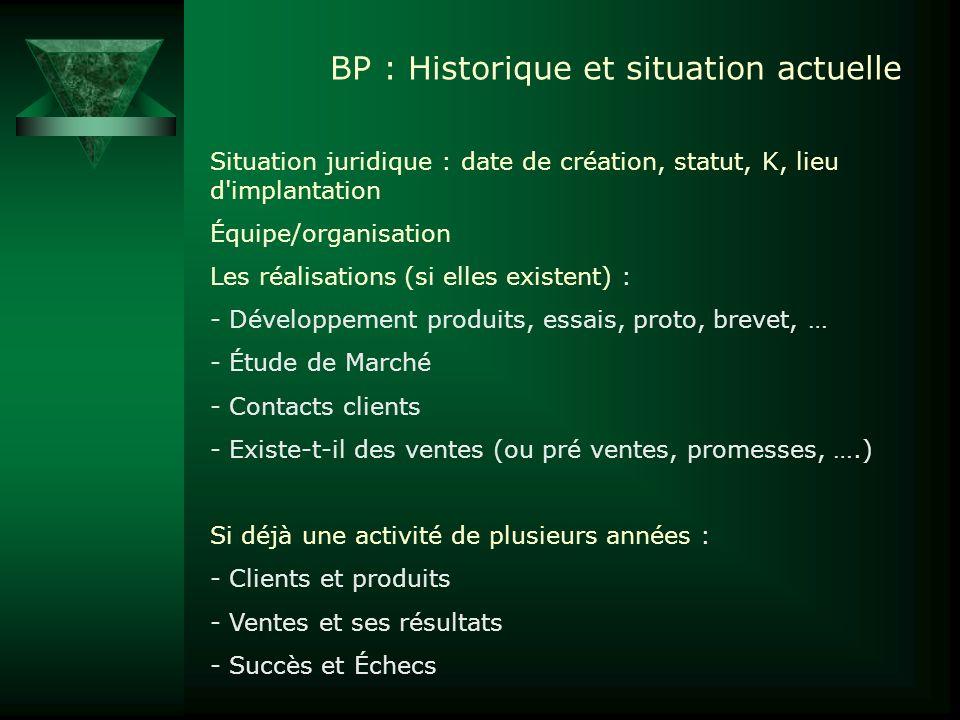 BP : Historique et situation actuelle Situation juridique : date de création, statut, K, lieu d'implantation Équipe/organisation Les réalisations (si