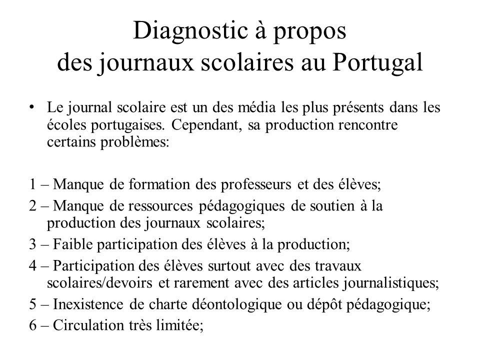Diagnostic à propos des journaux scolaires au Portugal Le journal scolaire est un des média les plus présents dans les écoles portugaises.