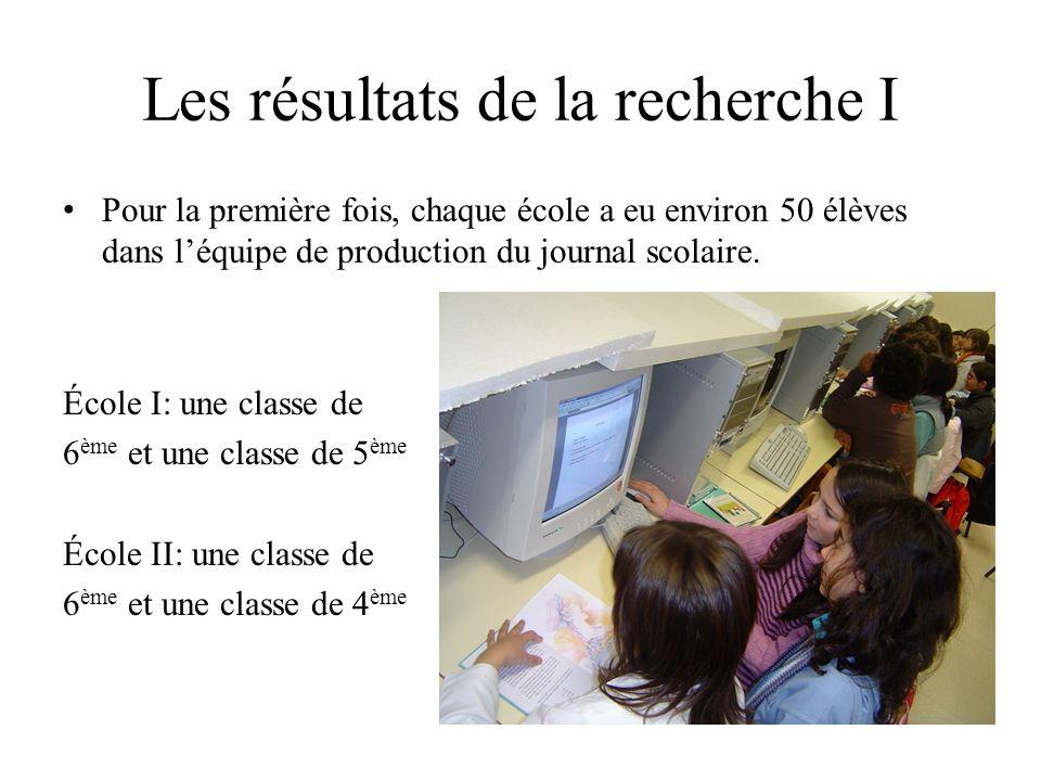 Les résultats de la recherche I Pour la première fois, chaque école a eu environ 50 élèves dans léquipe de production du journal scolaire.