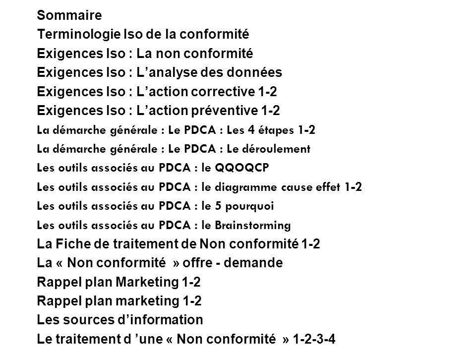 Sommaire Terminologie Iso de la conformité Exigences Iso : La non conformité Exigences Iso : Lanalyse des données Exigences Iso : Laction corrective 1
