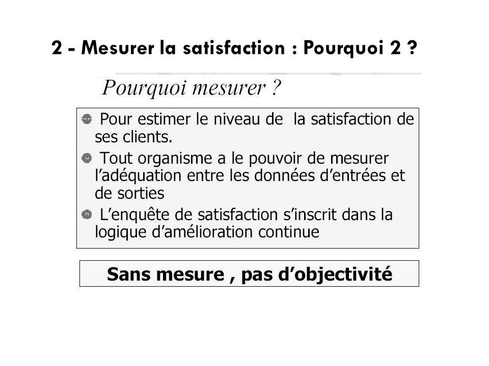 2 - Mesurer la satisfaction : Pourquoi 2 ?