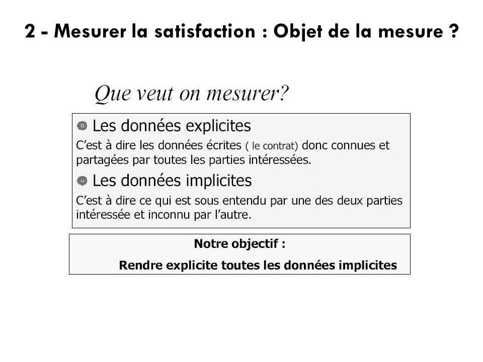 2 - Mesurer la satisfaction : Objet de la mesure ?