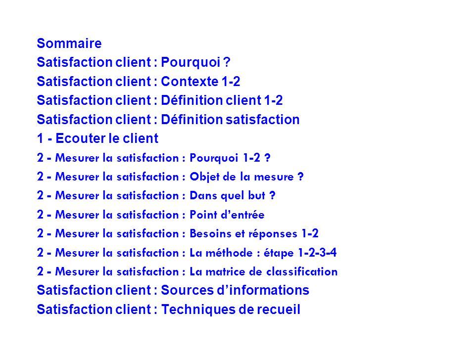 Sommaire Satisfaction client : Pourquoi ? Satisfaction client : Contexte 1-2 Satisfaction client : Définition client 1-2 Satisfaction client : Définit