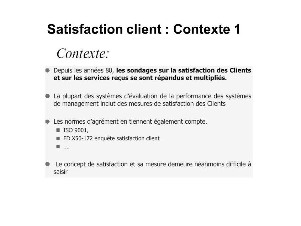 Satisfaction client : Contexte 2