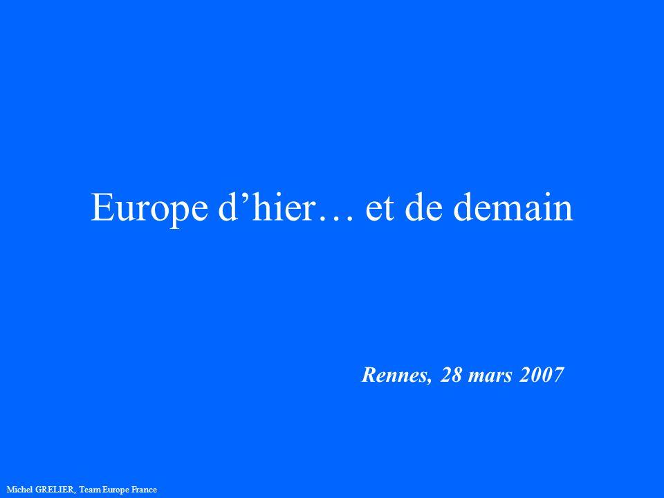 Europe dhier… et de demain Rennes, 28 mars 2007 Michel GRELIER, Team Europe France