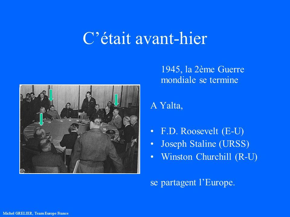 Cétait avant-hier 1945, la 2ème Guerre mondiale se termine A Yalta, F.D. Roosevelt (E-U) Joseph Staline (URSS) Winston Churchill (R-U) se partagent lE