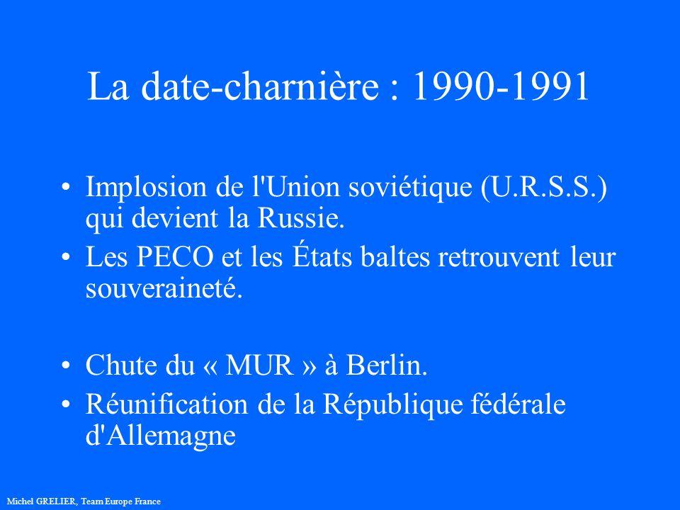 La date-charnière : 1990-1991 Implosion de l Union soviétique (U.R.S.S.) qui devient la Russie.