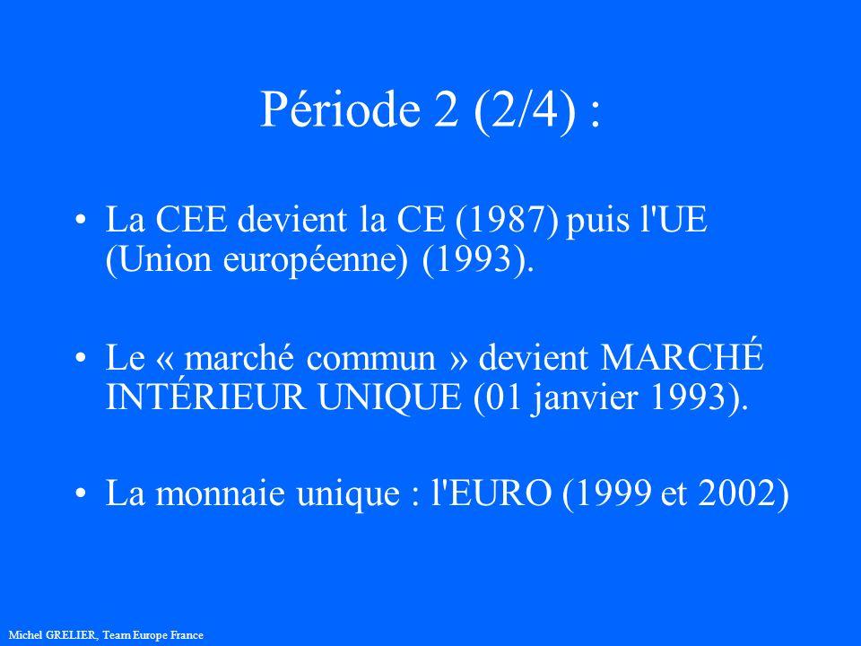 Période 2 (2/4) : La CEE devient la CE (1987) puis l UE (Union européenne) (1993).