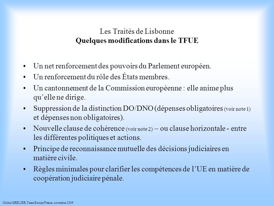Les Traités de Lisbonne Quelques modifications dans le TFUE Un net renforcement des pouvoirs du Parlement européen.