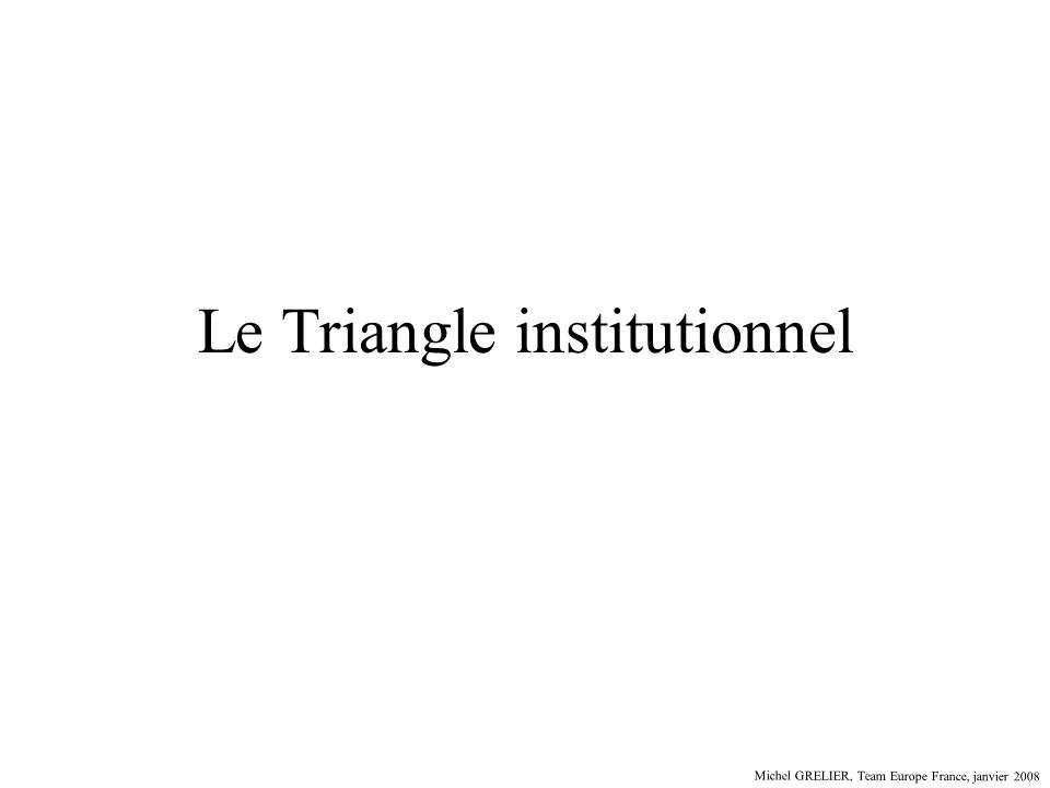 Le Triangle institutionnel Michel GRELIER, Team Europe France, janvier 2008