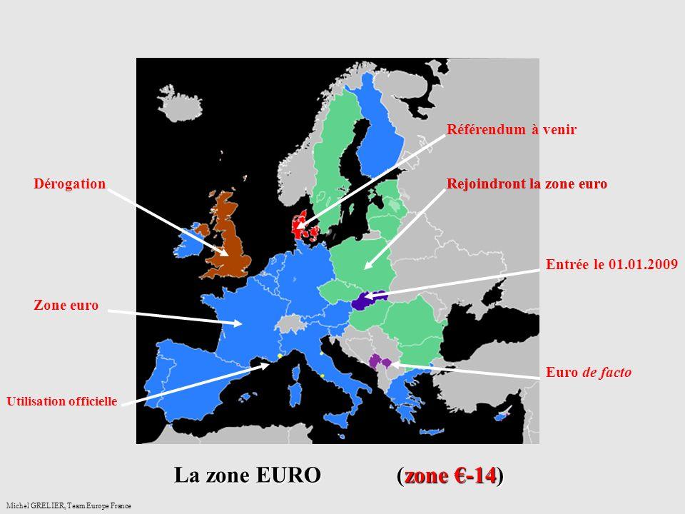 anceMichel GRELIER, Team Europe France La zone EURO (zone -14) Zone euro Utilisation officielle Entrée le 01.01.2009 Rejoindront la zone euro Référendum à venir Euro de facto Dérogation