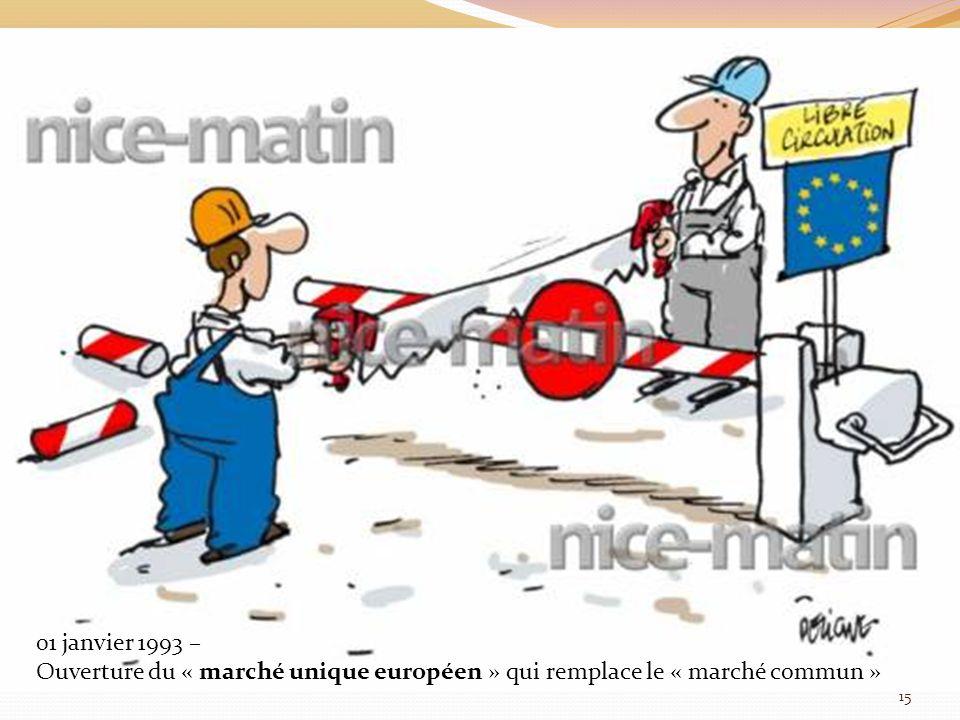 01 janvier 1993 – Ouverture du « marché unique européen » qui remplace le « marché commun » 15