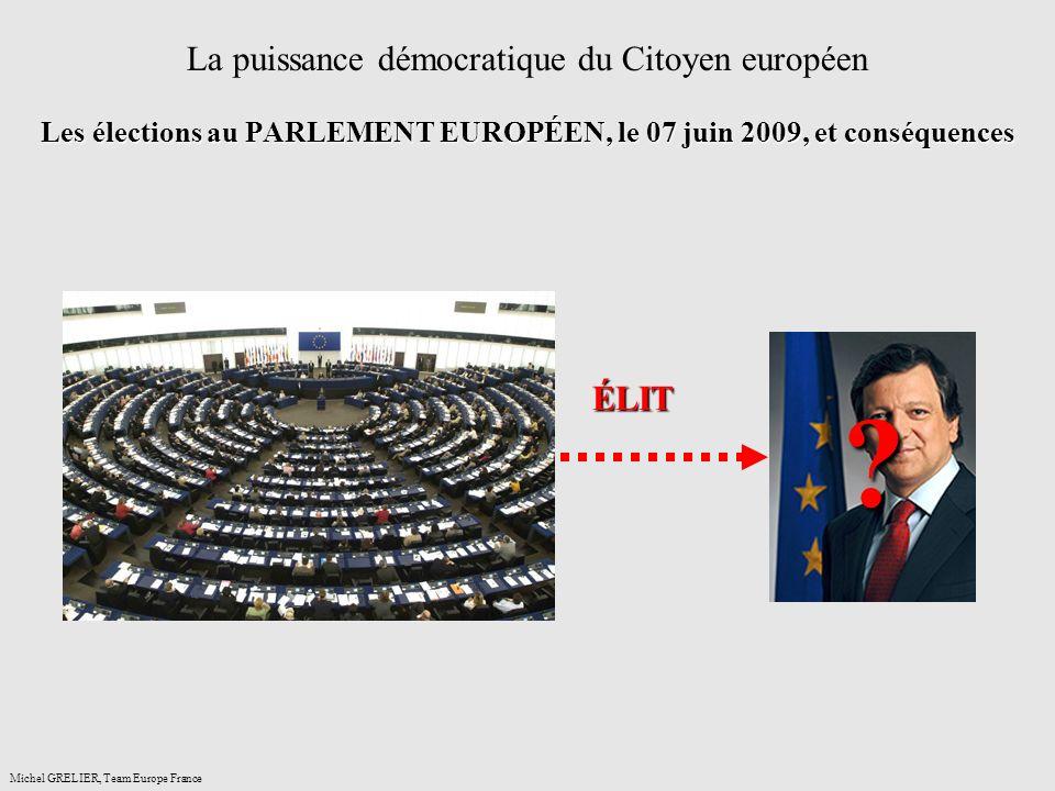 Les élections au PARLEMENT EUROPÉEN, le 07 juin 2009, et conséquences La puissance démocratique du Citoyen européen Les élections au PARLEMENT EUROPÉEN, le 07 juin 2009, et conséquences Michel GRELIER, Team Europe France .