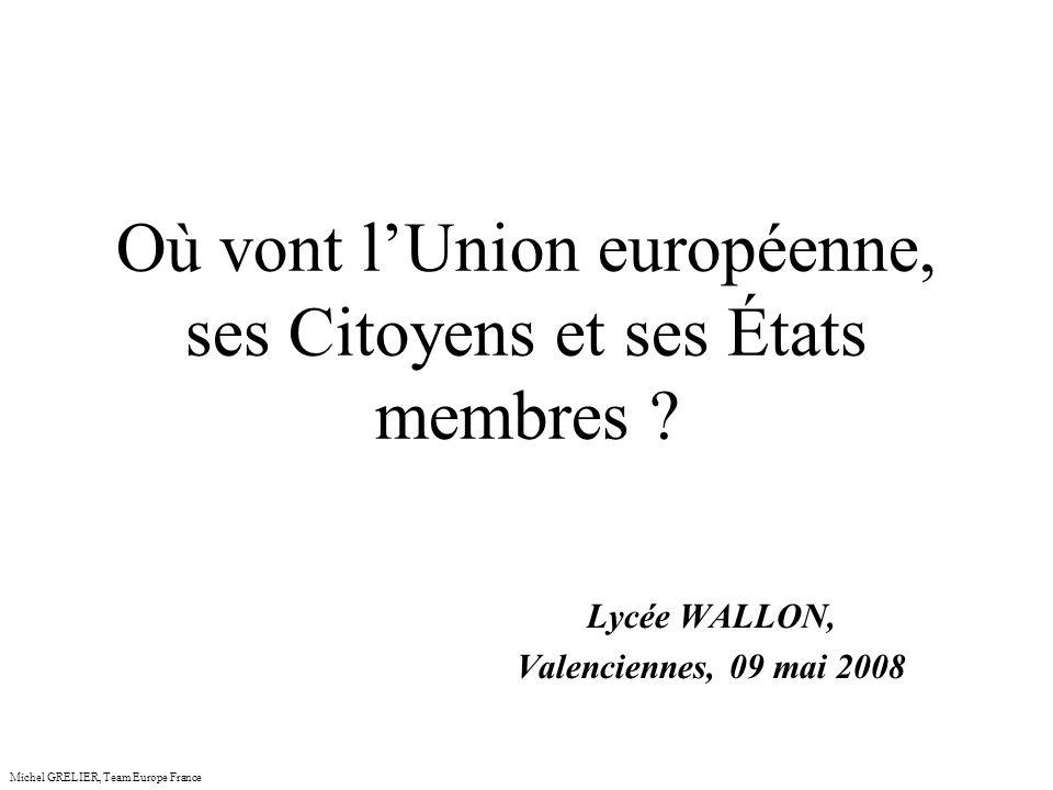 Les enjeux de lUnion européenne Michel GRELIER, Team Europe France PUISSANCE INFLUENCE INDEPENDANCE : ENERGIE (Pétrole et gaz naturel)