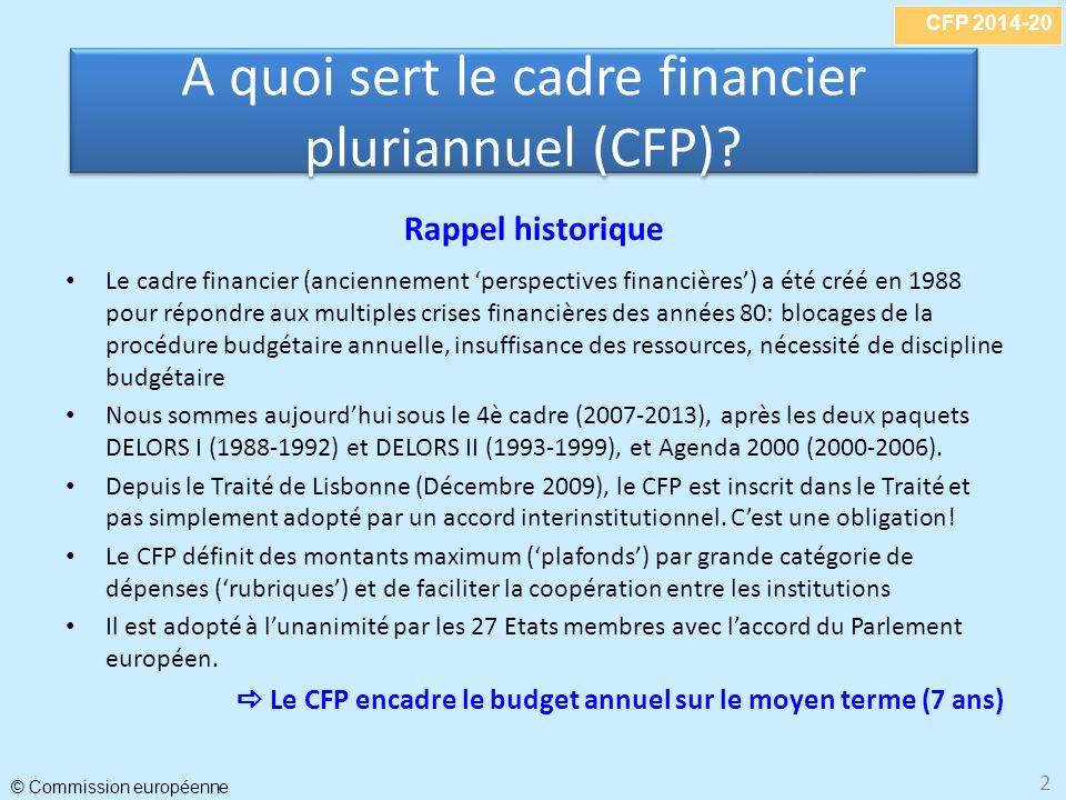 CFP 2014-20 © Commission européenne 2 Rappel historique Le cadre financier (anciennement perspectives financières) a été créé en 1988 pour répondre aux multiples crises financières des années 80: blocages de la procédure budgétaire annuelle, insuffisance des ressources, nécessité de discipline budgétaire Nous sommes aujourdhui sous le 4è cadre (2007-2013), après les deux paquets DELORS I (1988-1992) et DELORS II (1993-1999), et Agenda 2000 (2000-2006).