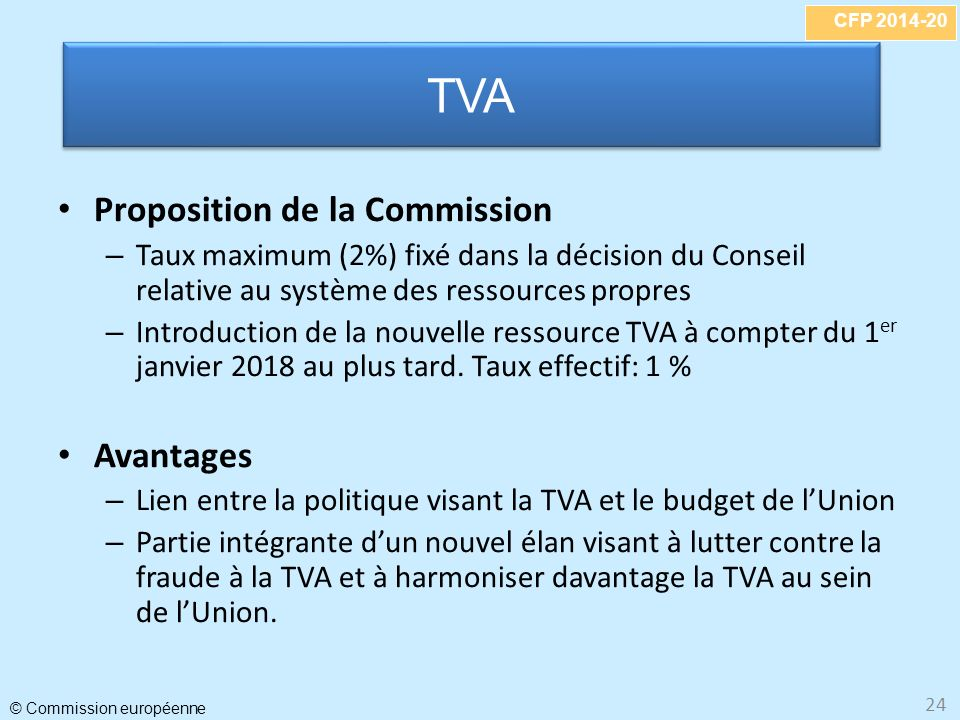 CFP 2014-20 © Commission européenne 24 Proposition de la Commission – Taux maximum (2%) fixé dans la décision du Conseil relative au système des ressources propres – Introduction de la nouvelle ressource TVA à compter du 1 er janvier 2018 au plus tard.