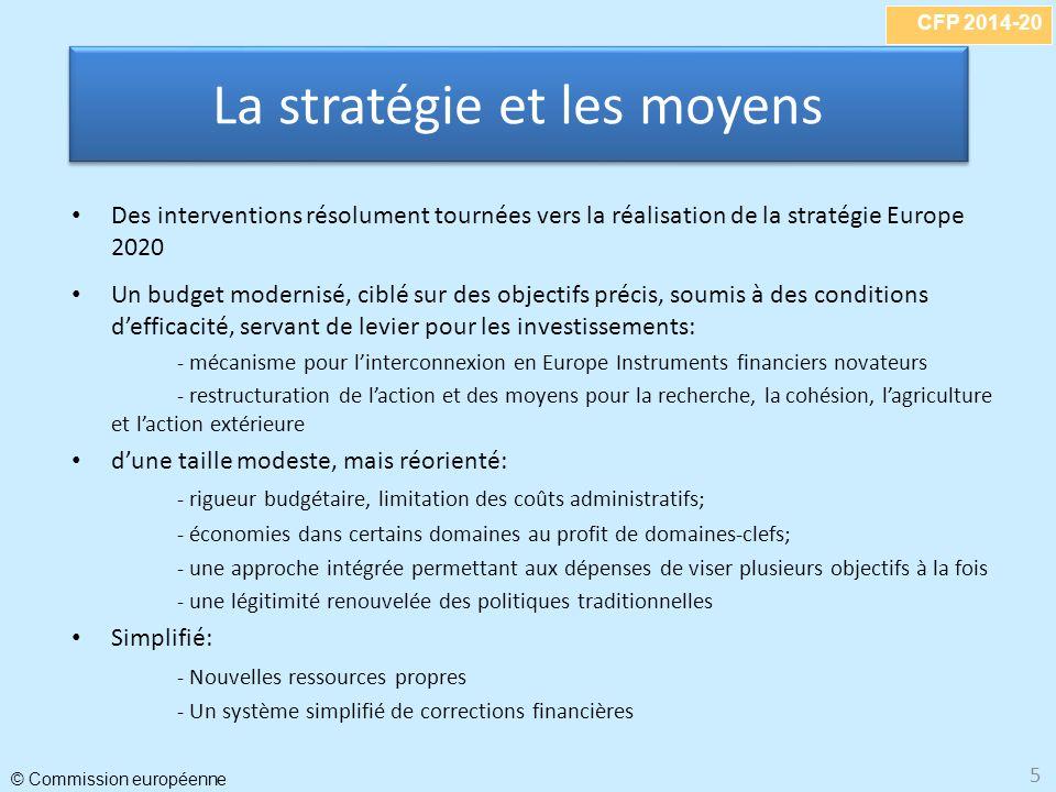 CFP 2014-20 © Commission européenne 5 La stratégie et les moyens Des interventions résolument tournées vers la réalisation de la stratégie Europe 2020 Un budget modernisé, ciblé sur des objectifs précis, soumis à des conditions defficacité, servant de levier pour les investissements: - mécanisme pour linterconnexion en Europe Instruments financiers novateurs - restructuration de laction et des moyens pour la recherche, la cohésion, lagriculture et laction extérieure dune taille modeste, mais réorienté: - rigueur budgétaire, limitation des coûts administratifs; - économies dans certains domaines au profit de domaines-clefs; - une approche intégrée permettant aux dépenses de viser plusieurs objectifs à la fois - une légitimité renouvelée des politiques traditionnelles Simplifié: - Nouvelles ressources propres - Un système simplifié de corrections financières