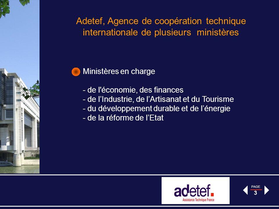 PAGE 14 Le projet Ameco: Programme dappui au Management de lEconomie Algérienne Objectif Général: Améliorer linformation économique et contribuer à faciliter la prise de décision à moyen terme en matière de conception et de mise en œuvre des politiques macro-économiques, sectorielles et régionales Contrat principal: 9 604 500 - programme piloté par Adetef de juin 2007 à novembre 2011 à la satisfaction du bénéficiaire et de la délégation.
