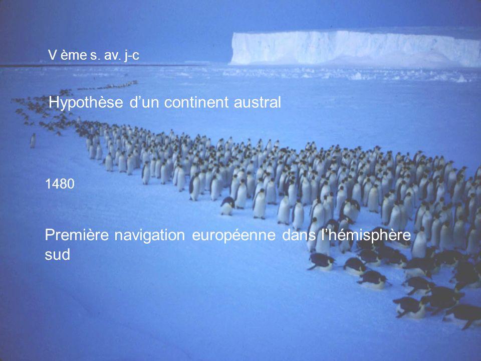V ème s. av. j-c Hypothèse dun continent austral 1480 Première navigation européenne dans lhémisphère sud