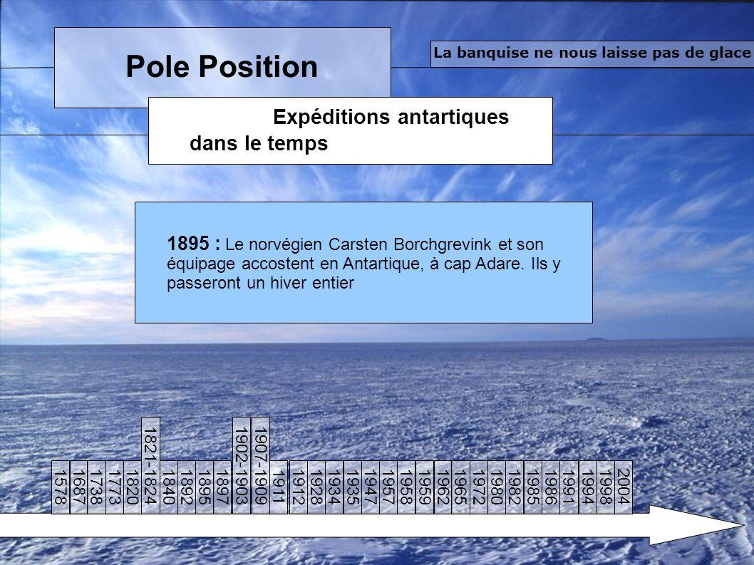 Pole Position Expéditions antartiques dans le temps La banquise ne nous laisse pas de glace 1895 : Le norvégien Carsten Borchgrevink et son équipage accostent en Antartique, à cap Adare.