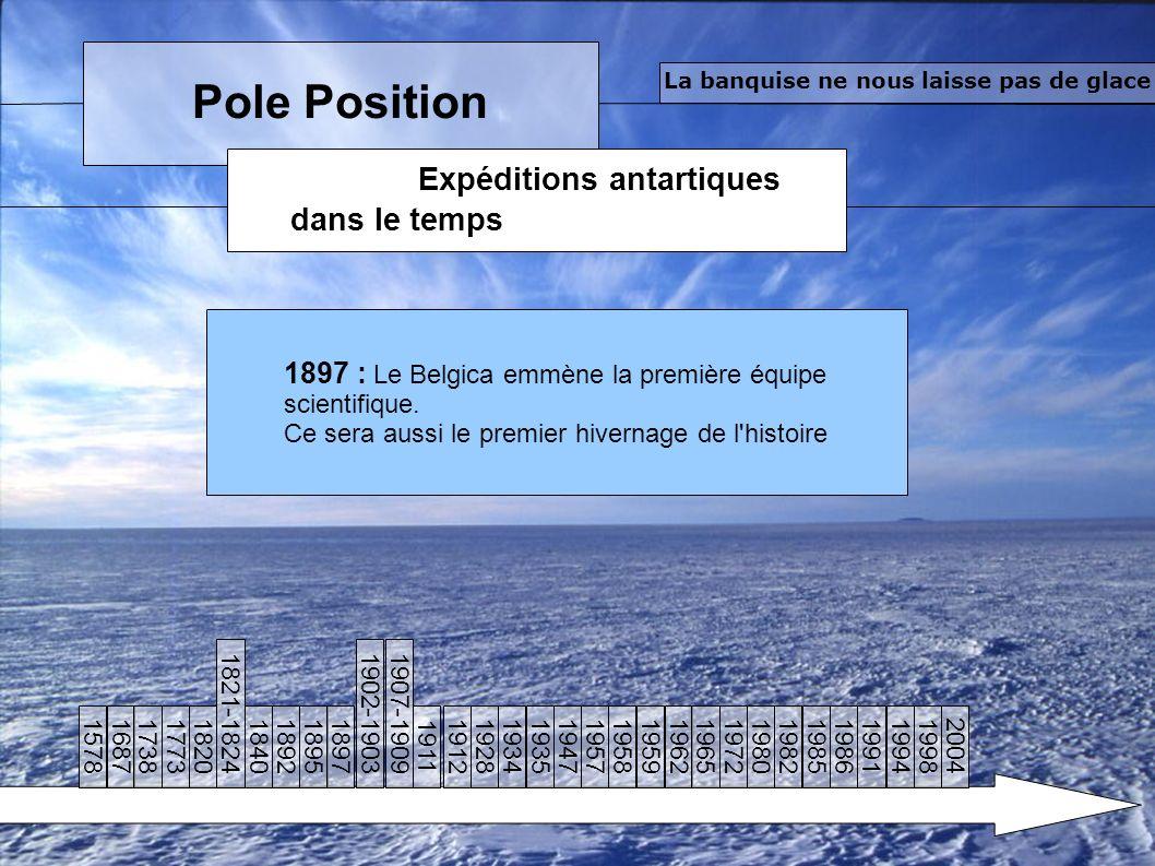 Pole Position Expéditions antartiques dans le temps La banquise ne nous laisse pas de glace 1897 : Le Belgica emmène la première équipe scientifique.