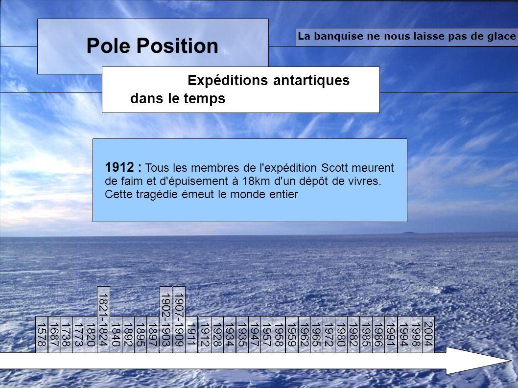 Pole Position Expéditions antartiques dans le temps La banquise ne nous laisse pas de glace 1912 : Tous les membres de l expédition Scott meurent de faim et d épuisement à 18km d un dépôt de vivres.
