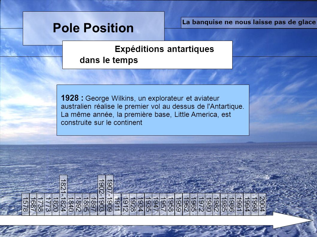 Pole Position Expéditions antartiques dans le temps La banquise ne nous laisse pas de glace 1928 : George Wilkins, un explorateur et aviateur australien réalise le premier vol au dessus de l Antartique.