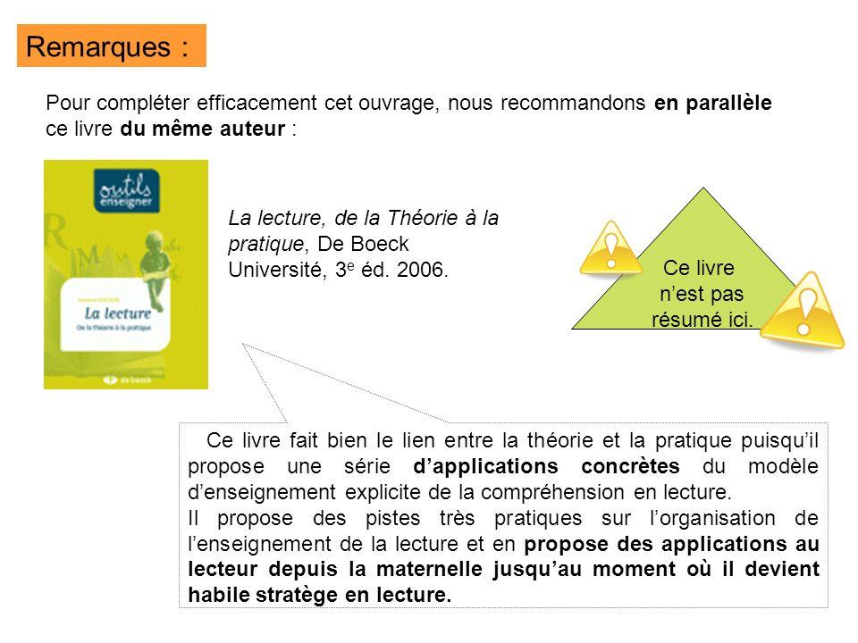 La lecture, de la Théorie à la pratique, De Boeck Université, 3 e éd. 2006. Remarques : Pour compléter efficacement cet ouvrage, nous recommandons en