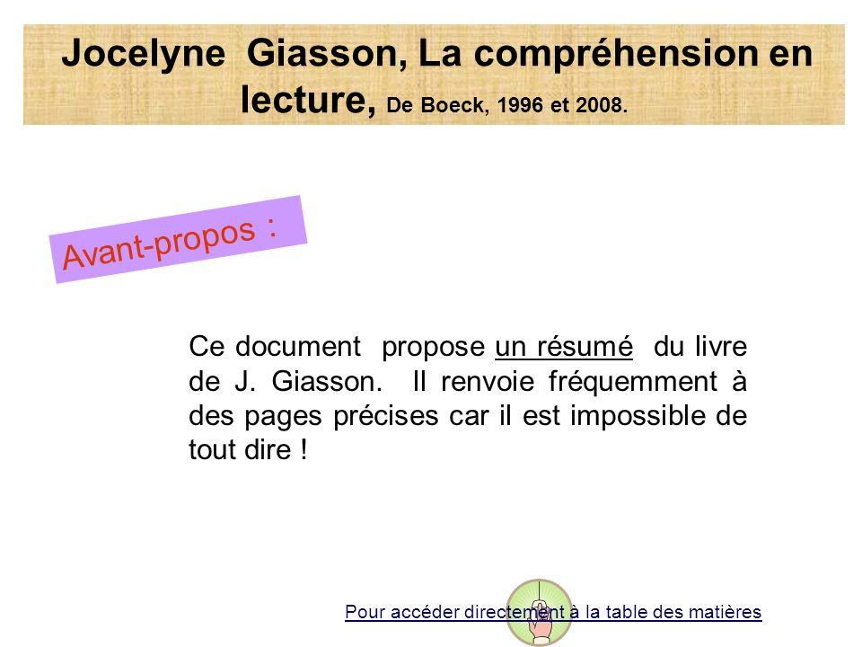 Jocelyne Giasson, La compréhension en lecture, De Boeck, 1996 et 2008. Avant-propos : Ce document propose un résumé du livre de J. Giasson. Il renvoie