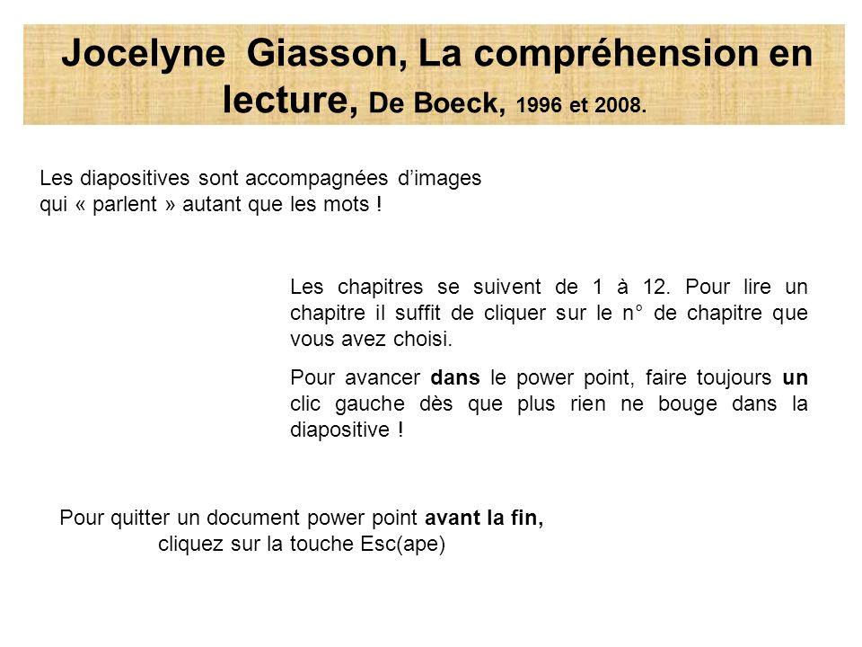 Les diapositives sont accompagnées dimages qui « parlent » autant que les mots ! Les chapitres se suivent de 1 à 12. Pour lire un chapitre il suffit d