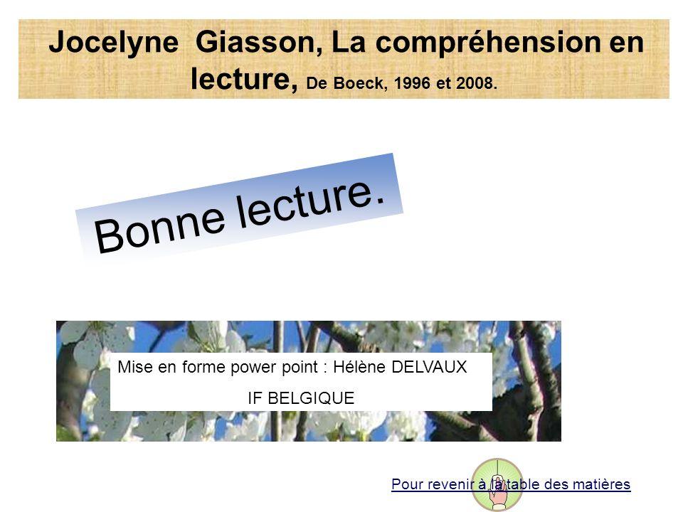 Bonne lecture. Mise en forme power point : Hélène DELVAUX IF BELGIQUE Jocelyne Giasson, La compréhension en lecture, De Boeck, 1996 et 2008. Pour reve